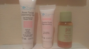 The Organic Pharmacy Rejuvenating Rose Face Cream, and Rose Face Wash along with the brilliant Pixie Toner